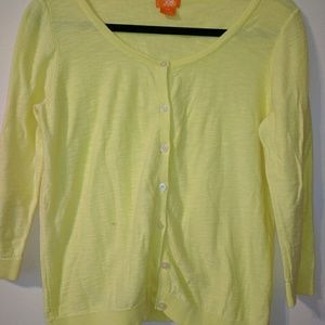 Joe Fresh Sz L/G Yellow 3/4 Button Up